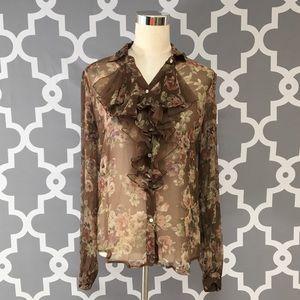 Ralph Lauren 100% Silk Floral Ruffle Blouse : M:5